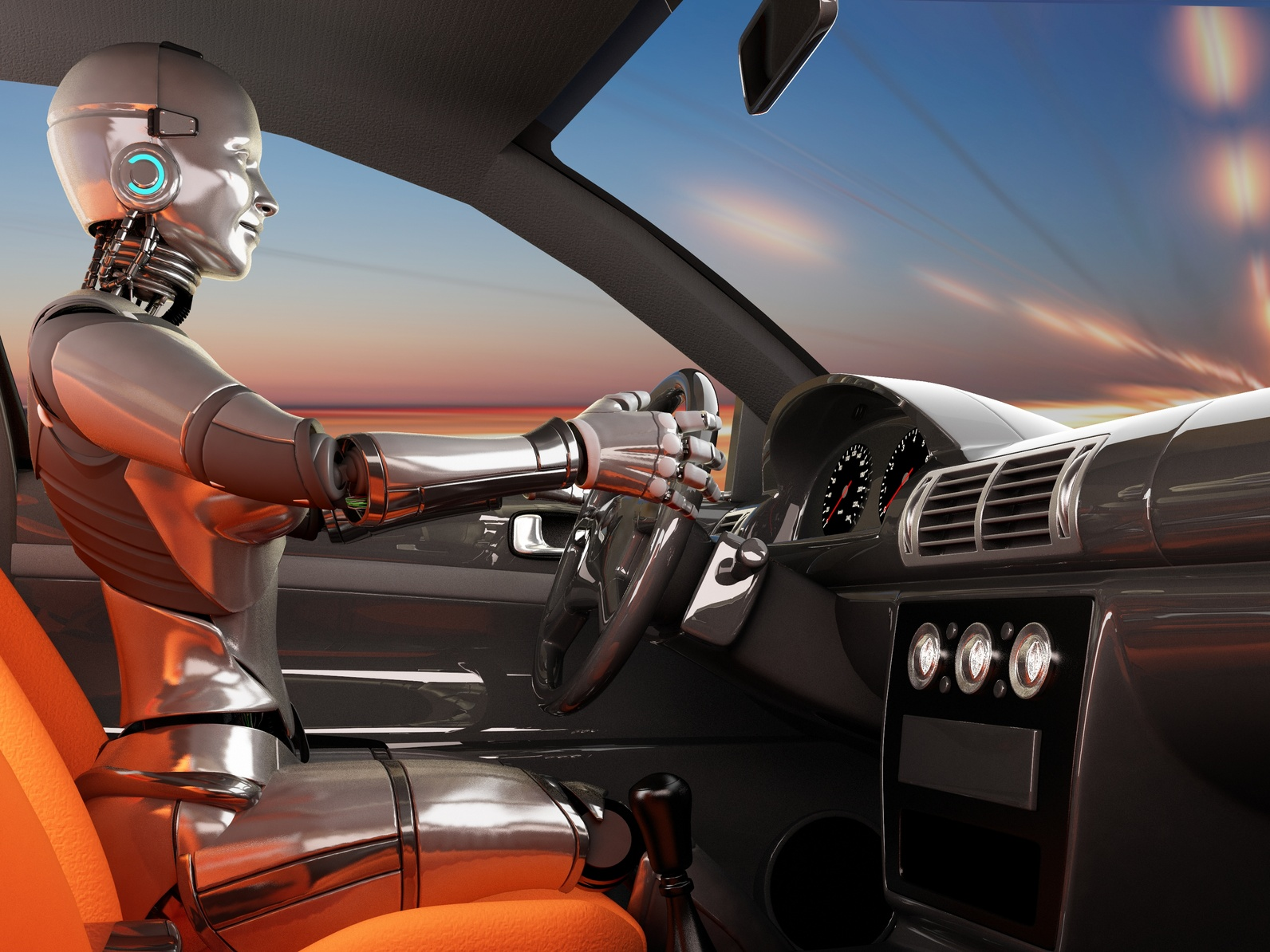 Car driven by robot